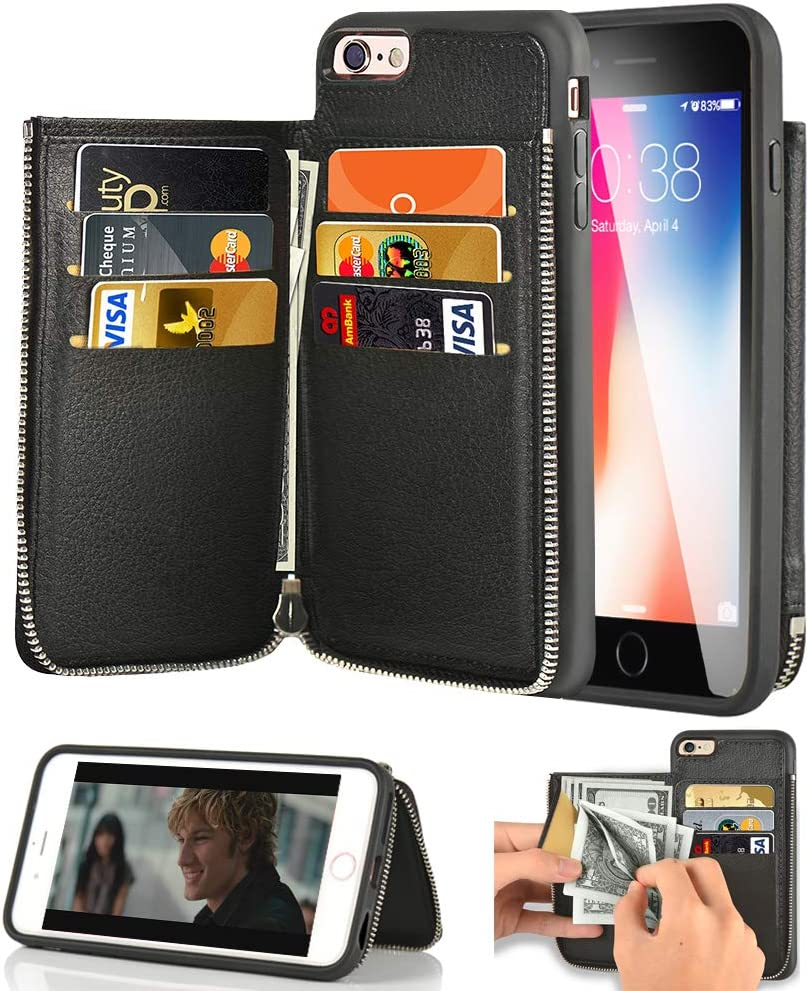iPhone 6S Plus Wallet Case, iPhone 6 Plus Card Holder Case, LAMEEKU Leather Case with Credit Card Slot Zipper Pocket Shockproof TPU Bumper Phone Cover Compatible with iPhone 6S Plus/6 Plus 5.5