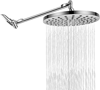 RongMax Complete Rain Shower Head Kit - 7.6 inch Luxury Rainfall Shower Head with 13.5 inch Adjustable Arm - High and Low Pressure Waterfall Showerhead with Removable Water Restrictor - Chrome Finish