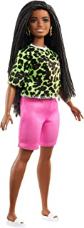Barbie Fashionistas Doll #144 with Long Brunette Braids Wearing Neon Green Animal-Print Top, Pink Shorts, White Sandals & ...