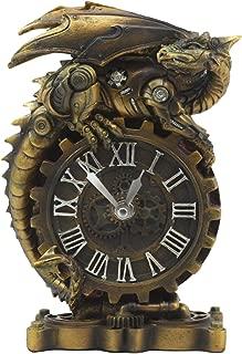 Ebros Chronos Resting Steampunk Cyborg Dragon Table Clock Statue 8.25