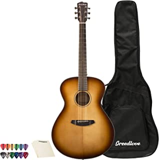 Breedlove Discovery Series 6-String Concerto Sitka-Mahogany Acoustic Guitar with ChromaCast 12 Pick Sampler and Polish Cloth, Right Handed, Sunburst(DSCO14SSMA-KIT-1)