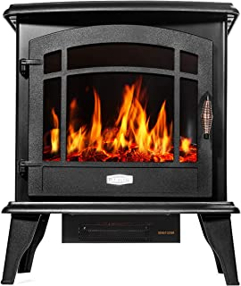 Barton 1500W Standing Vintage Electric Fireplace Stove Heater Infrared Quartz Freestanding 3D Flame Log Stove Firebox