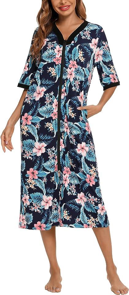 Womens Casual Langes Nachthemd Bequemes Nachthemd aus Baumwolle, Hausmantel mit Reißverschluss, Loungewear mit Blumendruck und Taschen S-XXL