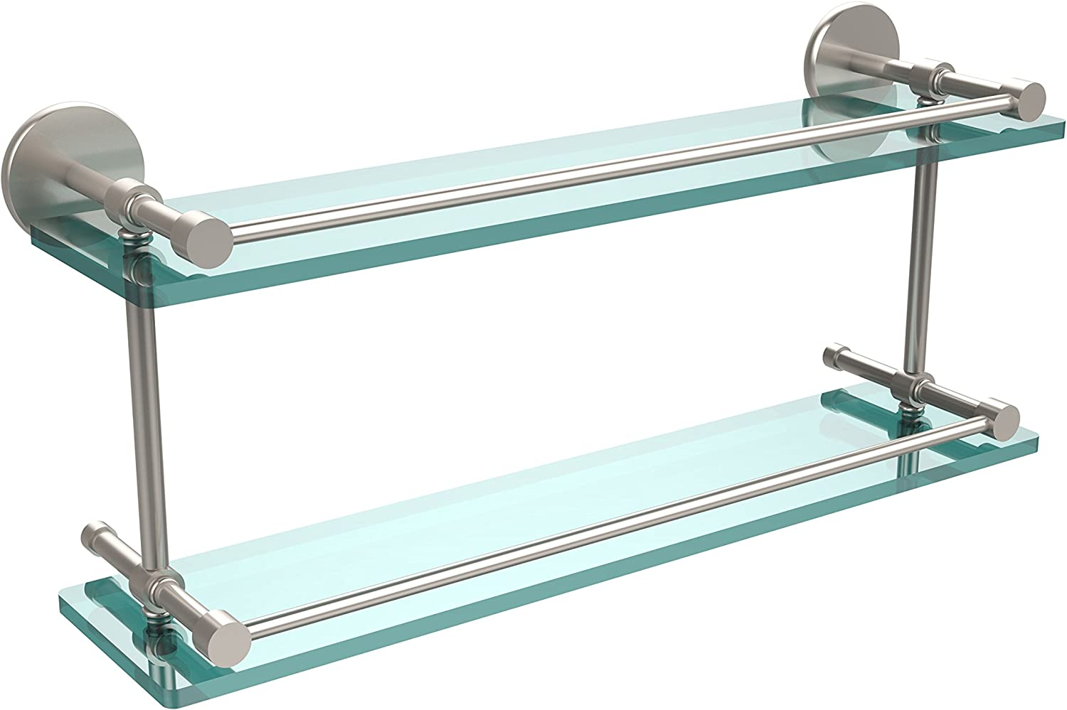 Allied Brass P1000-2 22-GAL-SN 22 Inch Tempered Double Glass Shelf with Gallery Rail, Satin Nickel