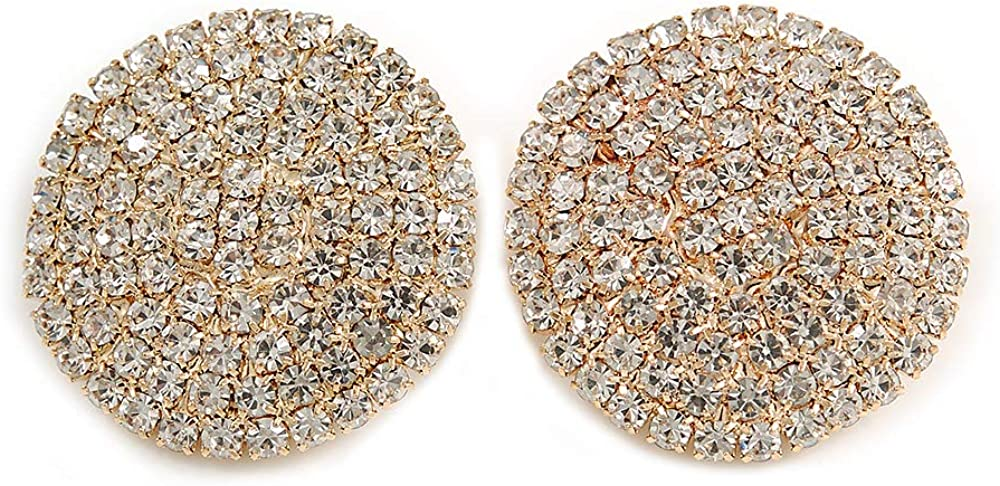 30mm Round Clear Crystal Clip On Earrings In Gold Tone