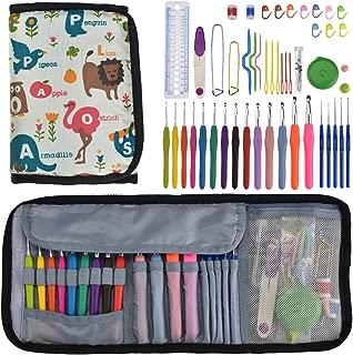 Looen Set of 59 Ergonomic Crochet Hooks Set with Case,14pcs Rubber Handles Hook 2.0-10.0mm,5pcs Plastic Girp Hooks 0.6mm-1.75mm Knitting Needles Hooks Kit for Arthritic Hands Beginner