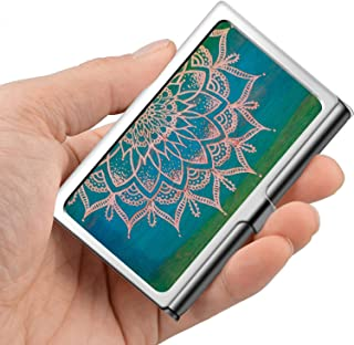 Professional Business Card,Stainless Steel Wallet case Credit Card ID Card Holder Blue Green Mandala