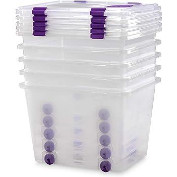 TODO HOGAR - Caja Plástico Almacenaje Grandes Multiusos con Ruedas - Medidas 510 x 410 x 360 mm - Capacidad de 52 litros (5): Amazon.es: Hogar