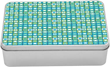 Ambesonne Abstract Tin Box, Modern Geometric Pattern with Nested Quirky Rectangles in Aqua Color Palette, Portable Rectangle