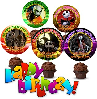 Crafting Mania LLC. 12 Nightmare Before Christmas Birthday Inspired Party Picks, Cupcake Picks, Cupcake Toppers #1