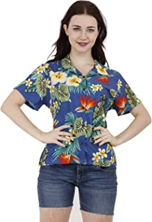 Hawaiian Shirts Women Hibiscus Flower Aloha Beach Top Blouse Casual Swim Ladies