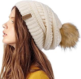 Best Womens Winter Knit Slouchy Beanie Hat Warm Skull Ski Cap Faux Fur Pom Pom Hats for Women Review