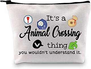 Video Game Inspired Makeup Bag Gift Game Lover Zipper Pouch Storage Bag for Gamer (It's a Animal Crossing Thing Makeup CA)