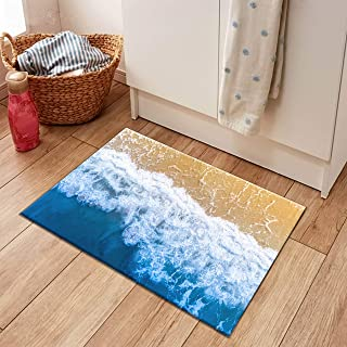 LB 3D Beach Area Rugs Home Decor Sea Wave with Sand Beach Scene Art Print Non Slip Kids Ocean Rugs Playroom Bedroom Kitchen Floor Mat 1'8''Wx2'7''L