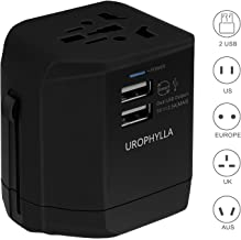 Travel Adapter,UROPHYLLA Universal European Adapter Dual Fuses 2.5A USB Wall Charger Power Adapter Cover 150+Countries EU US China UK Japan Germany Spain Iceland Italy Russia European Plug Adapter