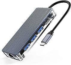 ORICO USB C Hub 8 en 1 Estación de Acoplamiento Tipo C con 4K HDMI, 3X USB3.0, Conector de Carga PD, RJ45Ethernet y Lector...