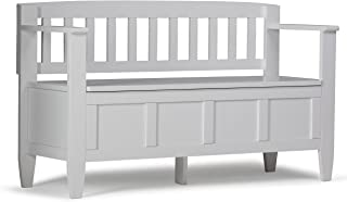 Simpli Home Brooklyn Solid Wood 48 inch wide Contemporary Entryway Storage Bench in White