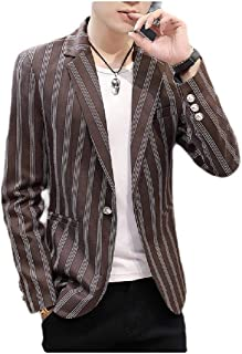 neveraway Men's Basic Style Striped Plaid One Button Blazer Jacket