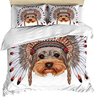 Luxury 4 Piece Bedding Set California King, Yorkshire Terrier in Bonnet Ethnic Culture Cute Dog Canine Illustration, Duvet/Comforter/Quilt Cover Set with Bed Sheet Pillow Shams for Kids/Teens/School