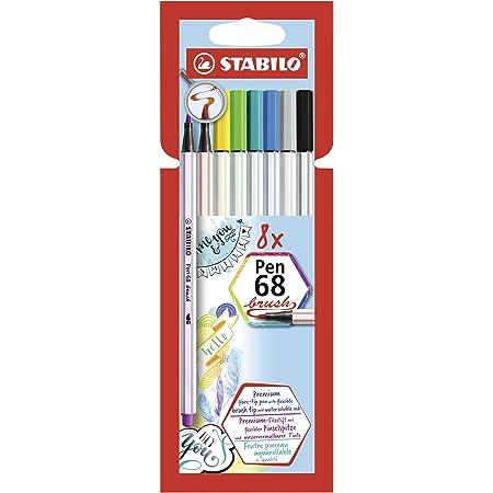 Pennarello Premium con punta a pennello per linee spesse e sottili - STABILO Pen 68 brush - Pack da 8 - con 8 colori assortiti