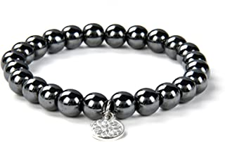 Black Onyx Bracelet | Handmade Gemstone Chakra Charged Crystal Bracelet for Natural Healing| Stretchy Yoga Beaded Jewelry for Men Women Unisex by Crystal Agate