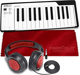 Arturia MicroLab Compact 25-Key USB-MIDI Controller (Black) + SR360 Over-Ear Dynamic Stereo Headphones & Fibertique Microfiber Cleaning Cloth