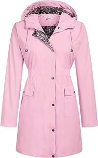 Rain Jacket Women Floral Lined Hooded Lightweight Raincoat Waterproof Outdoor Windbreaker S-XXL