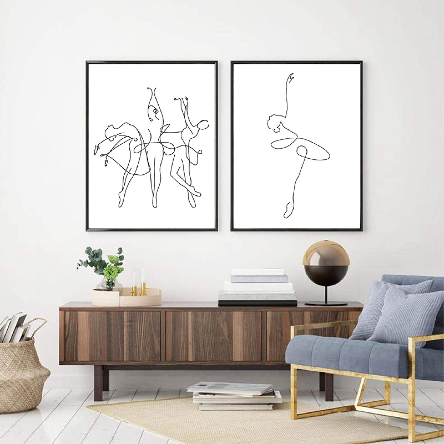 Abstract Ballerina Print One Line Drawing Body Canvas Art Max 70% OFF Ultra-Cheap Deals Painti