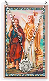 Round St. Raphael the Archangel Medal with Prayer Card