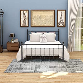 JURMERRY Metal Basic Queen Bed Frame Platform Under Bed Storage Non-Slip Steel Assemble Easily Mattress on Top Headboard and Footboard Iron Round Slat No Box Spring (Queen, Black/Silver)