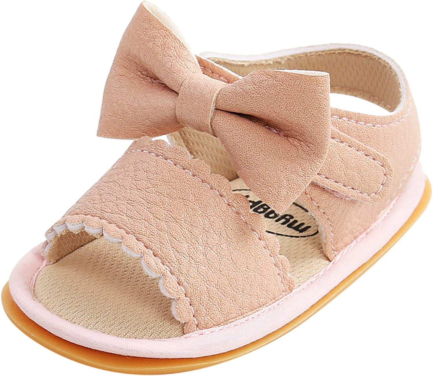Baby Girls Sandals Max 74% discount OFF Bow Soft Leather Rubber Sole Slip Non