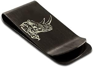 Tioneer Stainless Steel Berserk Rhino Engraved Money Clip Credit Card Holder