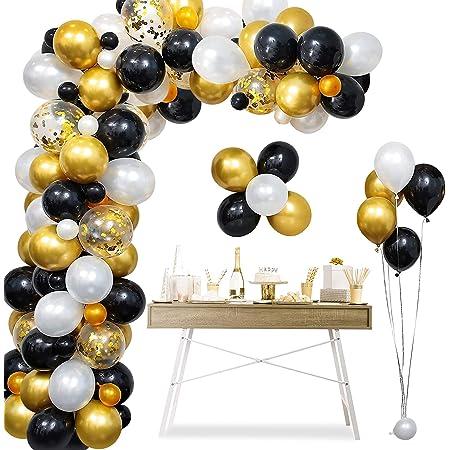 Balloon Arch Garland Kit, 120pcs Black Gold Birthday Party Decoration, 15pcs Confetti Balloon 105pcs Latex Balloon and Tying Tool, Decoration Balloons for Birthday Wedding Graduation (Black Gold)