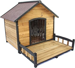PETJOINT XL Extra Large Dog Kennel + Veranda   Wooden Pet Puppy House Timber Home Indoor Outdoor