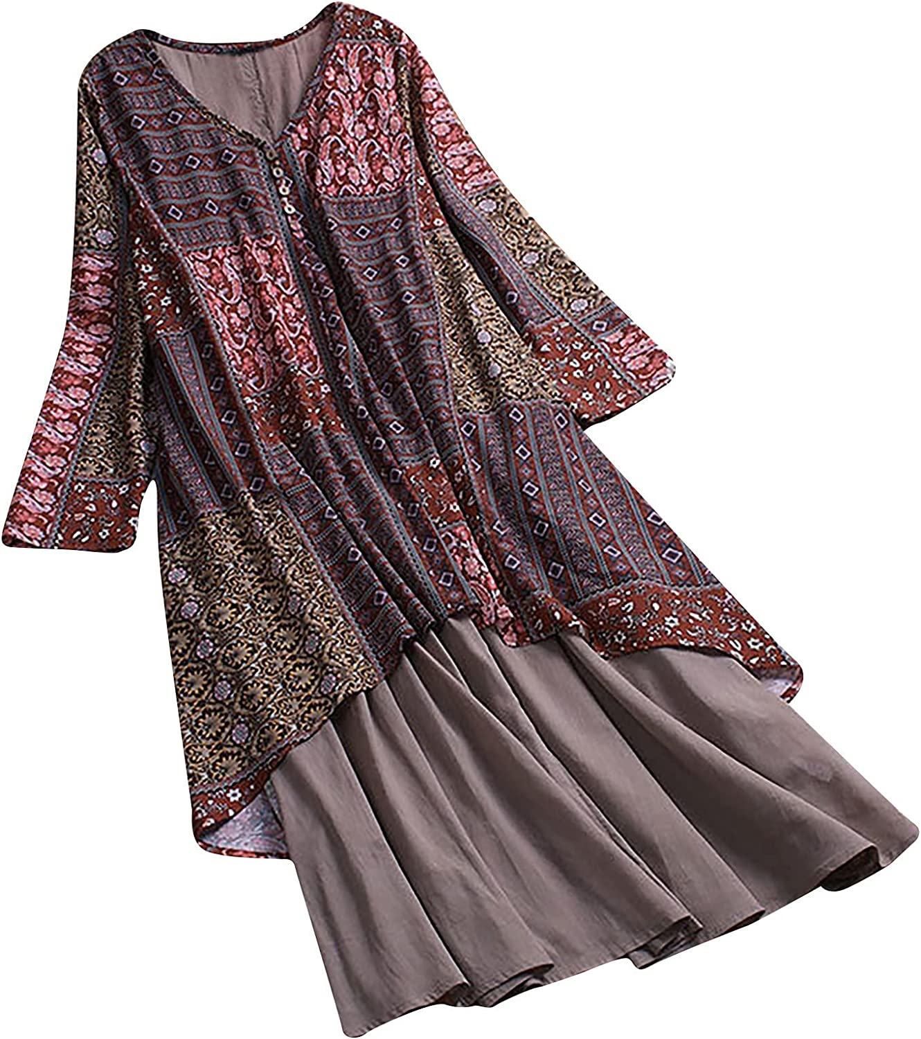 Assletes Plus Size Women Cotton and Linen V-Neck Long Sleeve Floral Printed Button Casual Dress