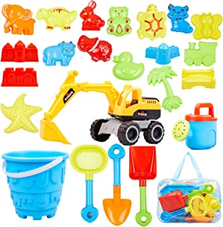 Ayukawa 23 Pcs Beach Sand Toys ,Castle,Excavator,Watering can, Mold, Shovel,Outdoor Tool Kit for Kids, Toddlers