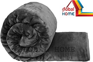 Global Home Microfiber Soft Korean Floral Embossed Blankets for Double Bed, 86 X 88 Inch (Grey)