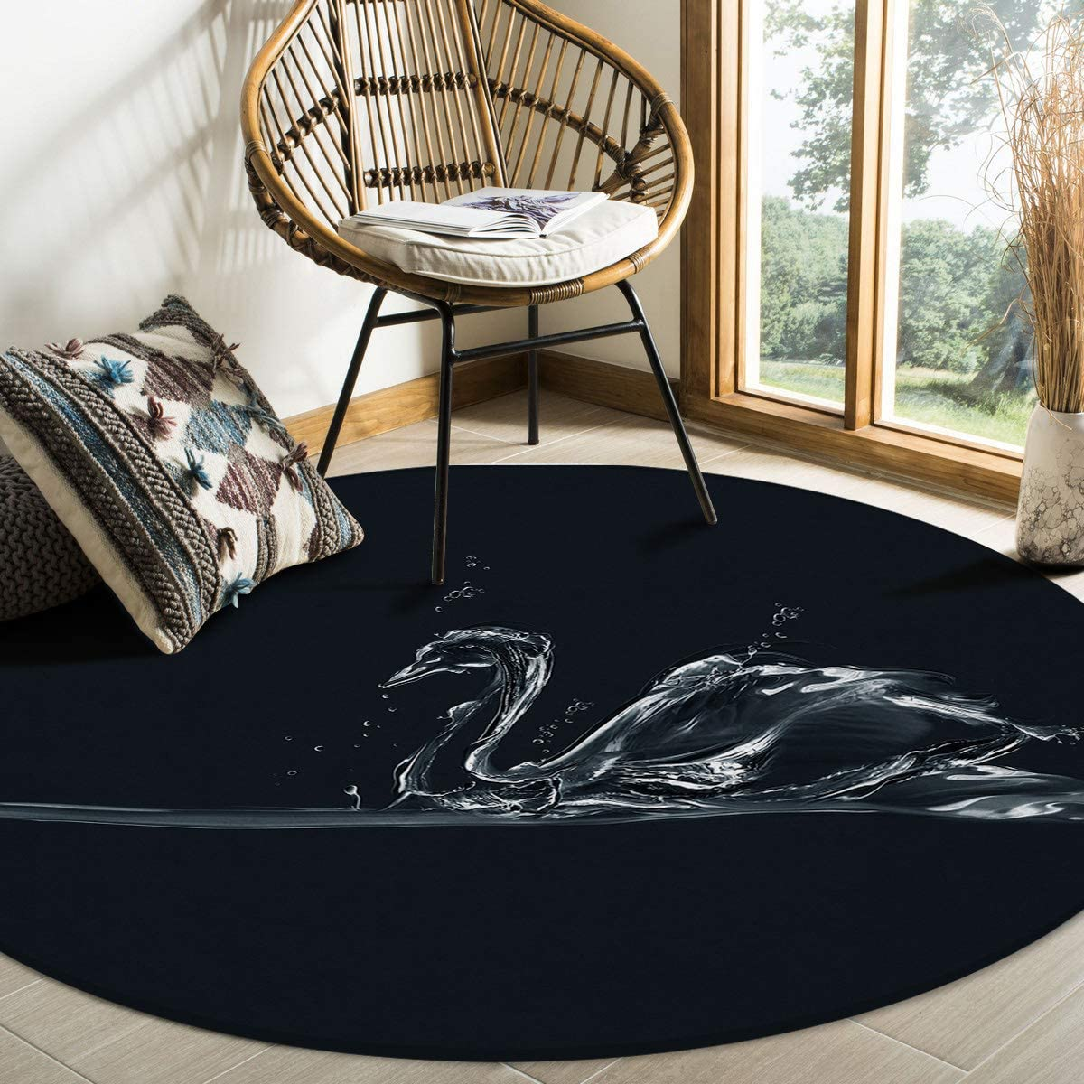 HELLOWINK Round Area Rugs 4ft Swan Black Free shipping anywhere in the nation Sale Res Stain Non-Shedding