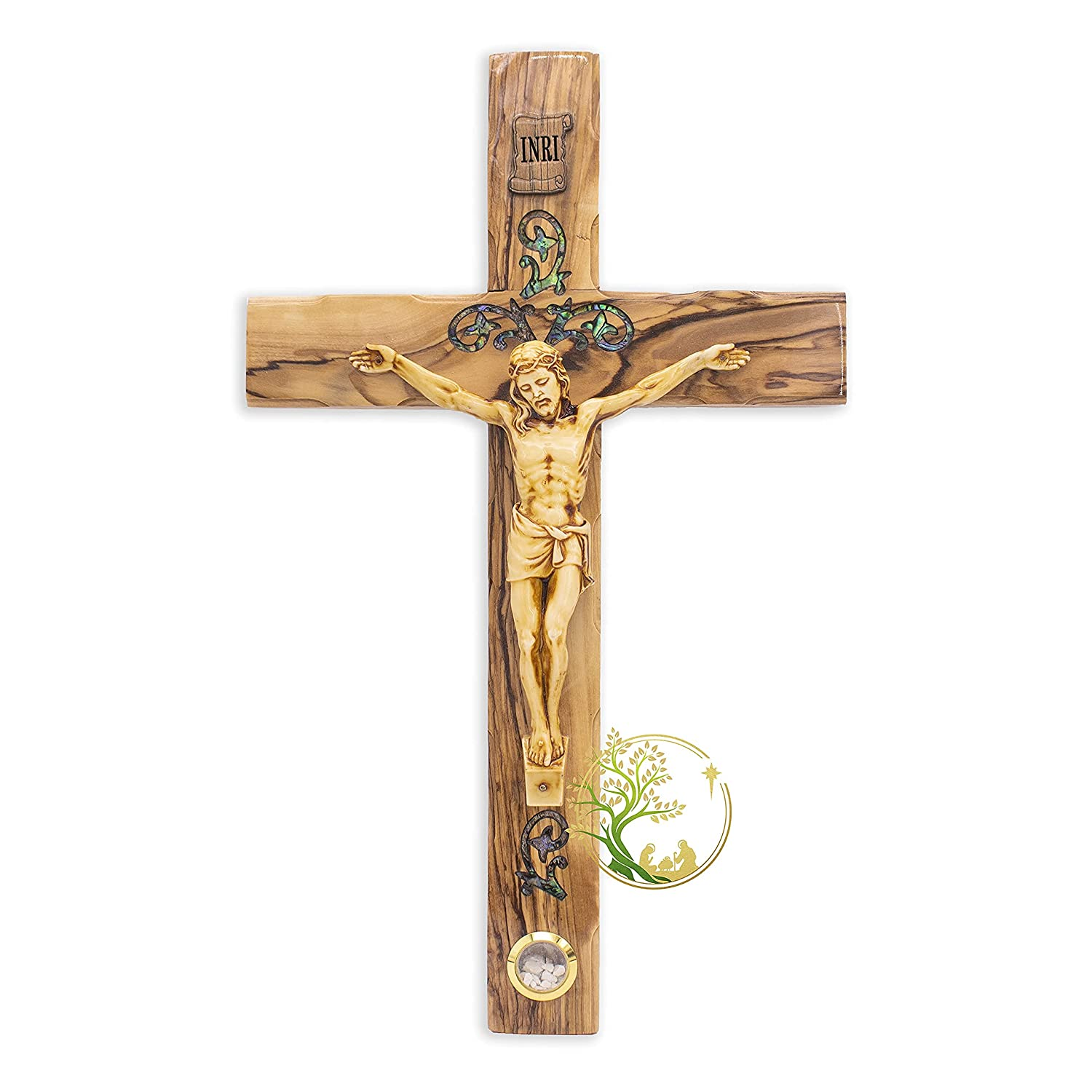 Wall Cross | Large Crucifix wall cross made of Mother of Pearl from the Holy Land | Catholic crucifix for wall Religious Home décor | Holy Cross for wall