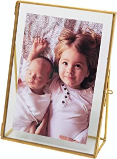 Rising Star Double Folding Picture Frames Gold Metal Pressed Glass Photo Baby