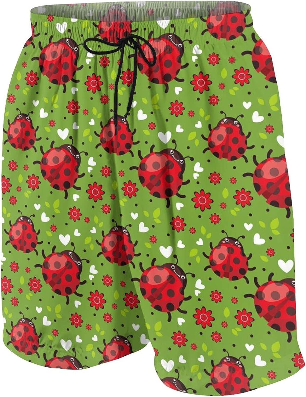 FuYin Boys Teens Swim Trunks Cartoon Happy Ladybugs Quick Dry Beach Board Swim Shorts 7-18T