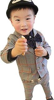 (チェリーレッド) CherryRed 男の子 チェック柄 フォーマル スーツ 上下2点セット 蝶ネクタイ付き
