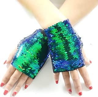 JACHAM Sequin Gloves,Reversible Mermaid Fingerless Gloves Dance Party Favor Bracelet Kids