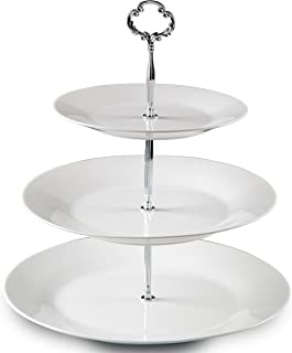 Klikel 3 Tiered Serving Stand |silver Serving Tray For Parties | Round Platter For Cupcakes Fruits Dessert or Tea | Cake Pop Stand And Buffet Server