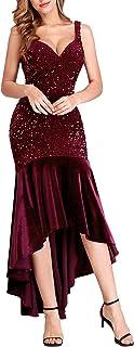 Ever-Pretty Vestiti da Sera e Cerimonia Donna Velluto con Paillettes Orlo Asimmetrico Abiti da Ballo 00482