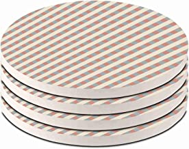stripes grey Set of 4 Ceramic Coasters For Drinks Absorbent with Cork Base Use as House Decor Living Room or Coffee Bar De...
