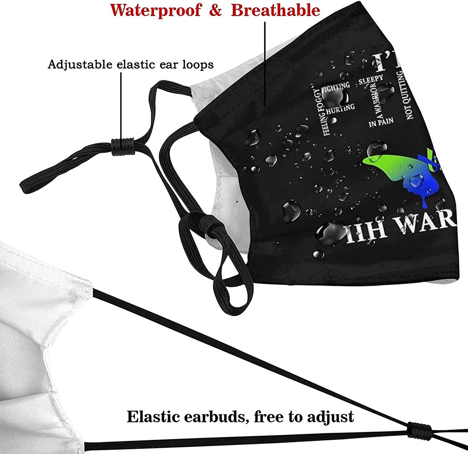 Iih Warrior Awareness Butterfly Face Mask, Adults Dustproof Windproof Breathable Bandanas with Activated Carbon Filter Washable Balaclava