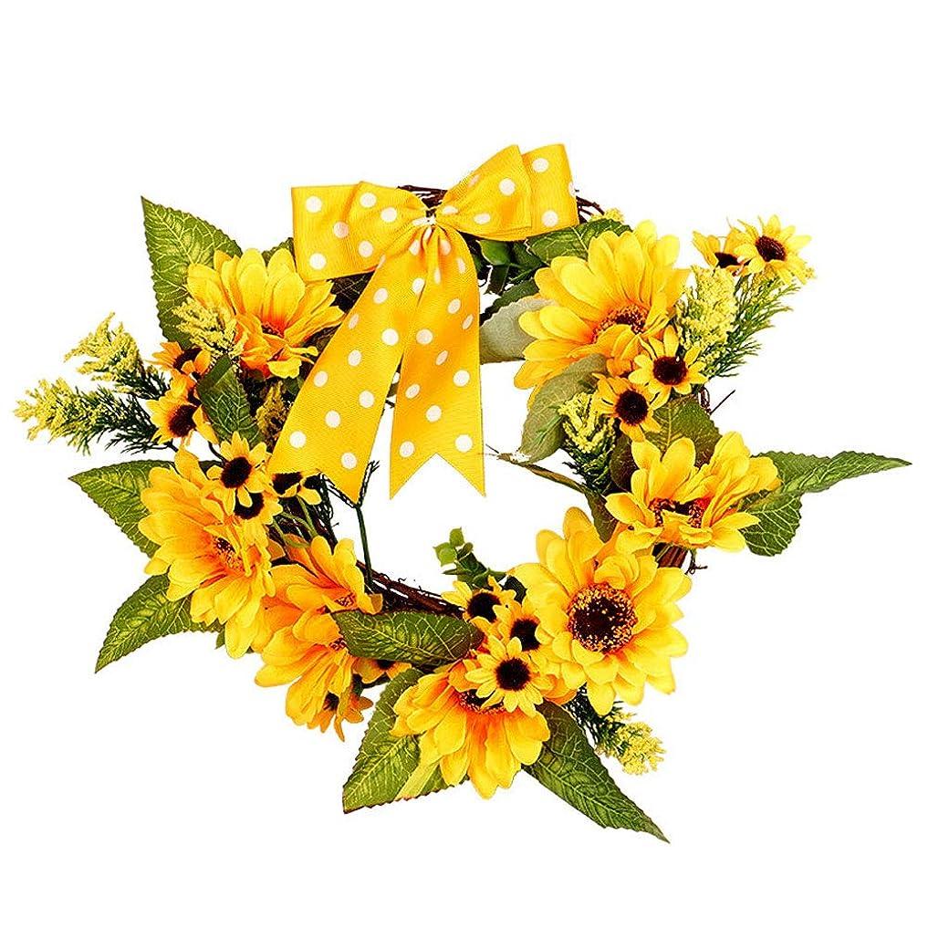 自動的にレール飢饉Snner クリスマス リース ゴージャス 1 PCSマニュアルのヒマワリの花輪は、フロントドア/ギフト/家の装飾の結婚式の装飾感謝祭の装飾を祝います