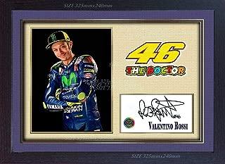 S&E DESING Valentino Rossi Signed Autograph Photo Print Motor Sport Framed MDF.