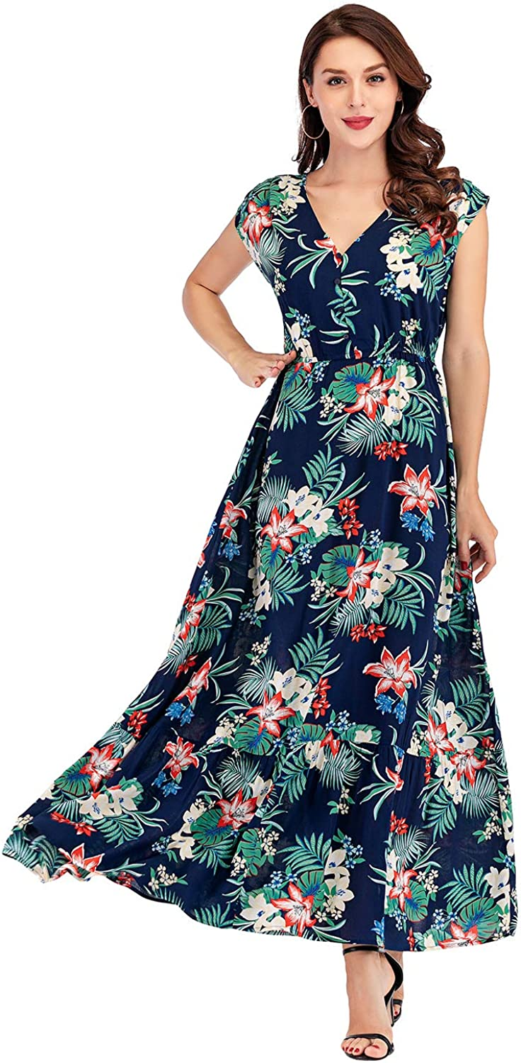 Women's Bohemian Floral Printed V Neck Short Sleeve Flowy Cocktail Party Maxi Dress (Large, Royal Blue)